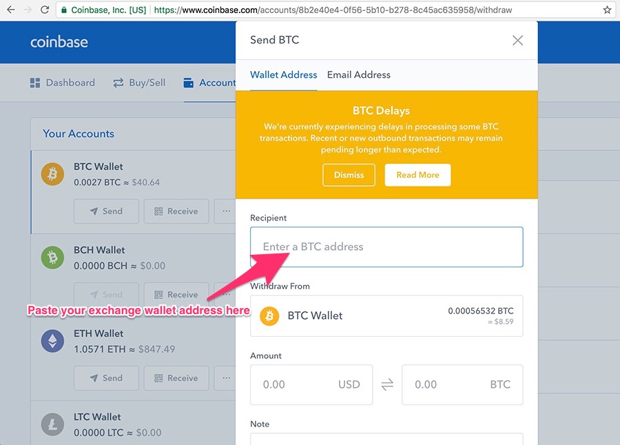how to send bitcoin from coinbase to bittrex